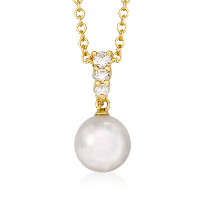 Mikimoto Akoya Pearl and Diamond Necklace in 18-Karat Yellow Gold, , default