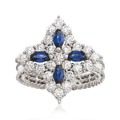 "Roberto Coin ""Princess Flower"" 1.23 ct. t.w. Diamond and .40 ct. t.w. Sapphire Flower Ring in 18kt White Gold, , default"