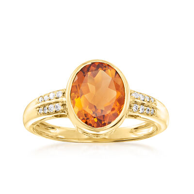 C. 1980 Vintage 2.35 Carat Citrine Ring with .12 ct. t.w. Diamonds in 14kt Yellow Gold