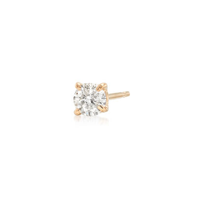 C. 1990 Vintage .15 Carat Diamond Single Stud Earring in 14kt Yellow Gold, , default