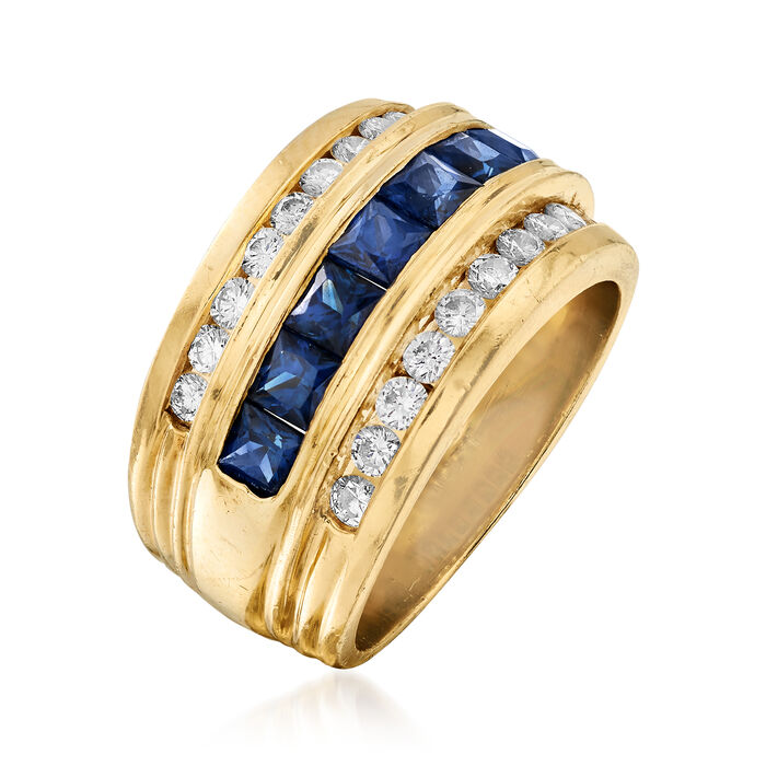 C. 1980 Vintage 1.75 ct. t.w. Sapphire and .75 ct. t.w. Diamond Ring in 18kt Yellow Gold