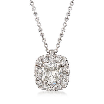 Henri Daussi .61 ct. t.w. Diamond Halo Necklace in 18kt White Gold, , default