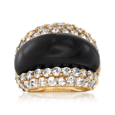 C. 2000 Vintage Black Onyx and 2.50 ct. t.w. White Topaz Ring in 14kt Yellow Gold, , default