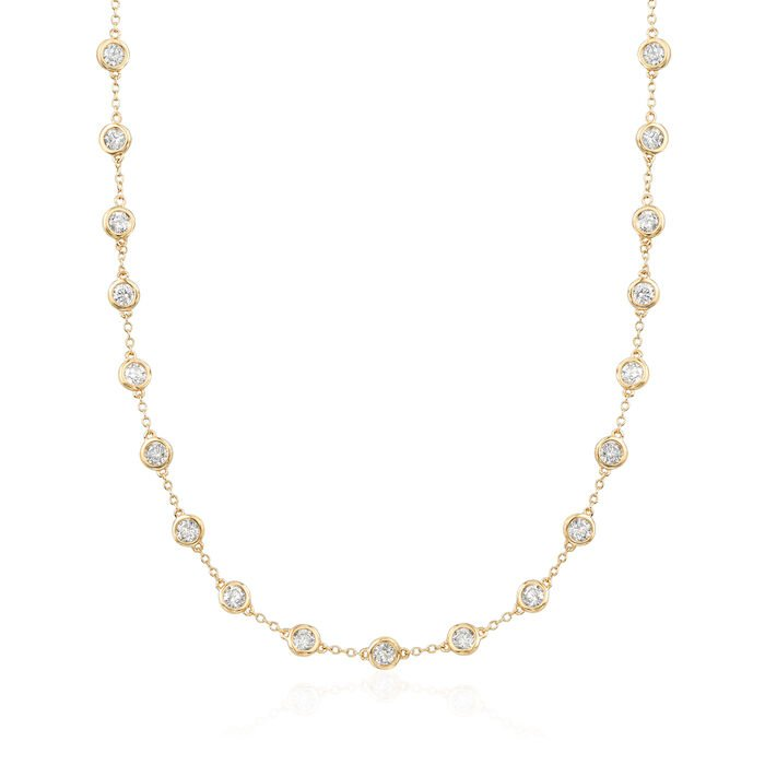 5.00 ct. t.w. Bezel-Set Diamond Station Necklace in 14kt Yellow Gold, , default