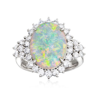 C. 1980 Vintage Opal and 1.07 ct. t.w. Diamond Ring in Platinum