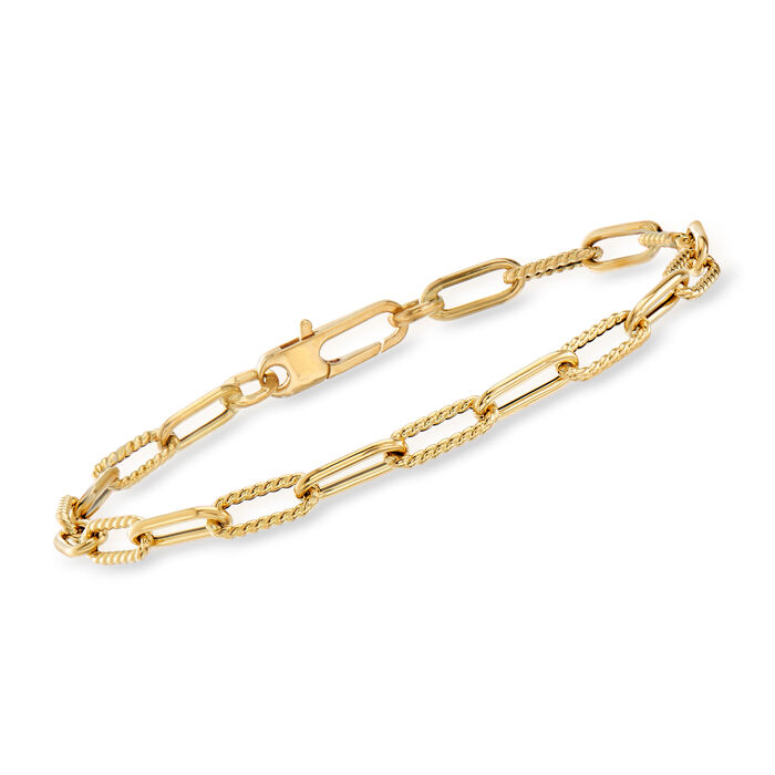 """Roberto Coin 18kt Yellow Gold Roped Paper Clip Link Bracelet. 7"""""""