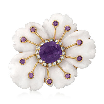 C. 1970 Vintage White Jade Flower Pin with 9.50 ct. t.w. Amethyst and .65 ct. t.w. Diamonds in 14kt Yellow Gold