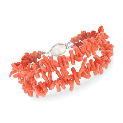 C. 1980 Vintage Orange Coral Double-Row Bead Bracelet with Sterling Silver, , default