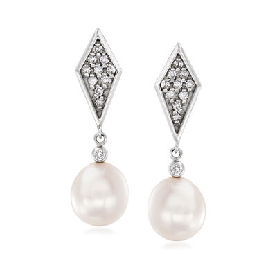 C. 2000 Vintage 10x9mm Cultured Pearl and .40 ct. t.w. Diamond Drop Earrings in 14kt White Gold