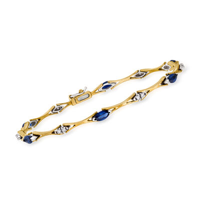 C. 1990 Vintage 1.75 ct. t.w. Sapphire and .25 ct. t.w. Diamond Station Bracelet in 14kt Yellow Gold, , default