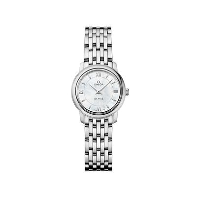Omega De Ville Prestige Women's 24.4mm Stainless Steel Watch with Mother-Of-Pearl Dial