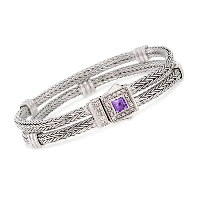 "Phillip Gavriel ""Woven"" .80 Carat Amethyst and .40 ct. t.w. White Sapphire Station Link Bracelet in Sterling Silver, , default"