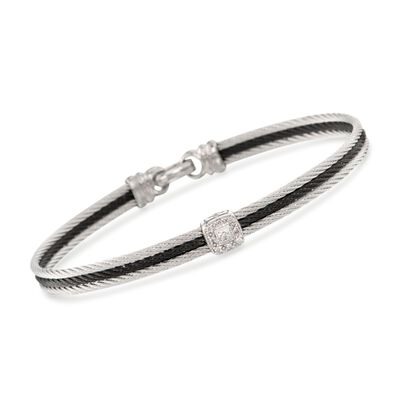 "ALOR ""Noir"" Two-Tone Stainless Steel Cable Bracelet With Diamonds and 18kt White Gold, , default"