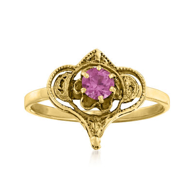 C. 1980 Vintage .20 Carat Amethyst Ring in 14kt Yellow Gold
