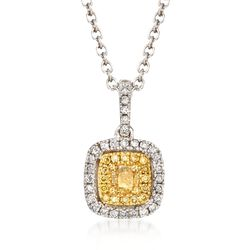 Gregg Ruth .43 ct. t.w. Yellow and White Diamond Necklace in 18kt White Gold, , default
