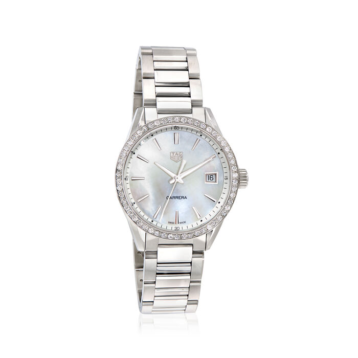 TAG Heuer Carrera Women's 36mm .76 ct. t.w. Diamond Watch in Stainless Steel with Mother-Of-Pearl Dial