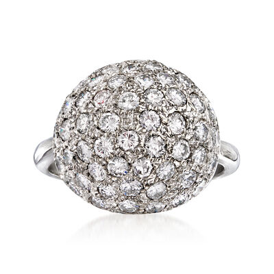 C. 1980 Vintage 2.25 ct. t.w. Diamond Ball Ring in Platinum
