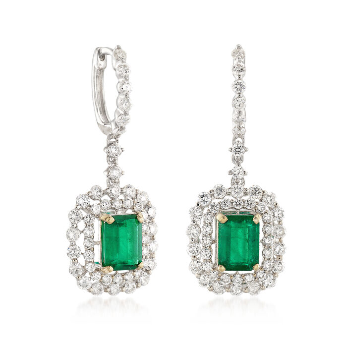 C. 1990 Vintage 2.00 ct. t.w. Emerald and 2.00 ct. t.w. Diamond Drop Earrings in 14kt White Gold