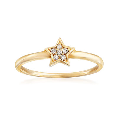 C. 1990 Vintage 14kt Yellow Gold Star Ring with Diamond Accents, , default