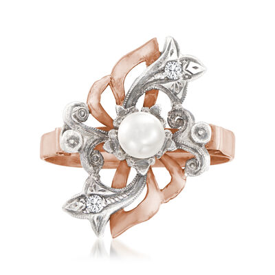 C. 1920 Vintage 4mm Cultured Pearl Ring with Diamond Accents in Sterling Silver and 18kt Yellow Gold