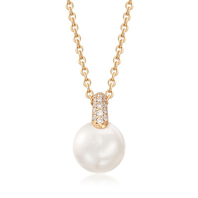 "Mikimoto ""Classic"" 8.5mm A+ Akoya Pearl and .14 ct. t.w. Diamond Necklace in 18kt Gold"