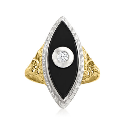 C. 1950 Vintage Black Onyx Navette Ring with Diamond Accent in 14kt Two-Tone Gold