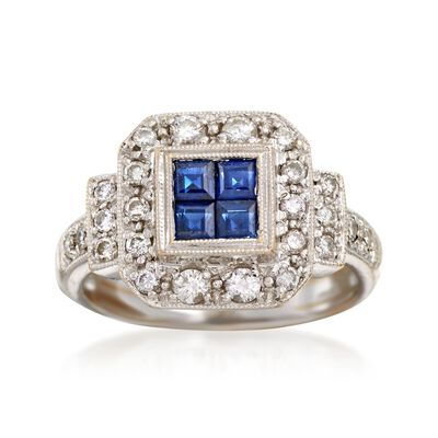 C. 1990 Vintage .40 ct. t.w. Sapphire and .50 ct. t.w. Diamond Ring in 18kt White Gold