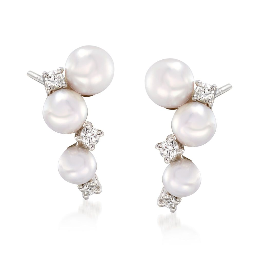 d3add8062 Mikimoto Bubbles 3.25-4.25mm A+ Akoya Pearl Drops with Diamond Accents in  18-