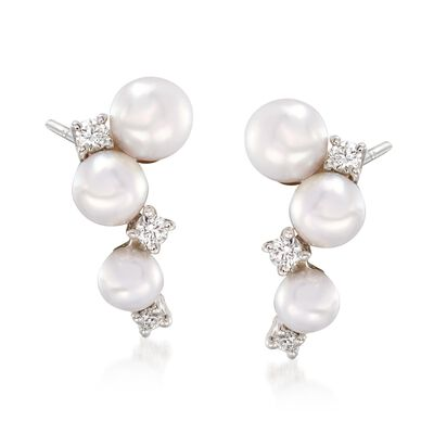 "Mikimoto ""Bubbles"" 3.25-4.25mm Akoya Pearl Cluster Drop Earrings with Diamond Accents in 18kt White Gold, , default"