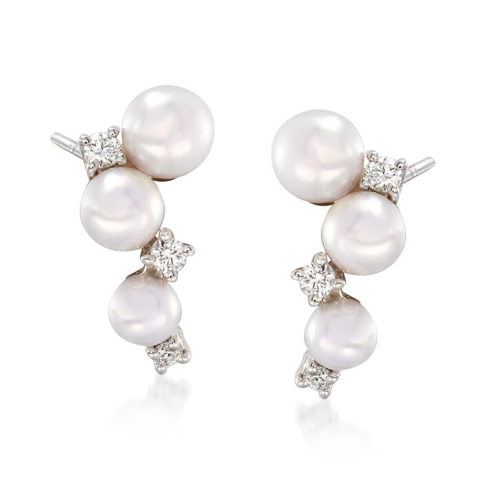 Mikimoto Bubbles 3.25-4.25mm A+ Akoya Pearl Drops with Diamond Accents in 18-Karat White Gold, , default