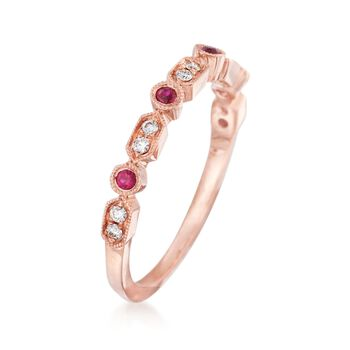Henri Daussi .18 ct. t.w. Diamond and Ruby Wedding Ring in 14kt Rose Gold, , default