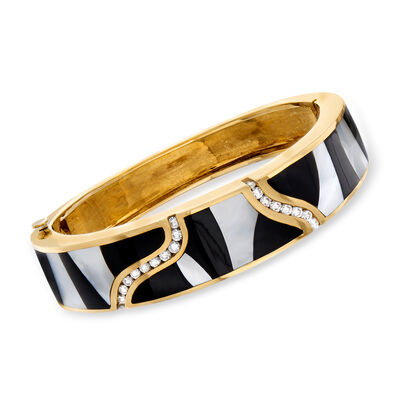 C. 1980 Vintage Mother-Of-Pearl, Black Onyx and 1.05 ct. t.w. Diamond Bangle Bracelet in 18kt Yellow Gold