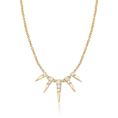 Gabriel Designs .13 ct. t.w. Diamond Spike Necklace in 14kt Yellow Gold, , default