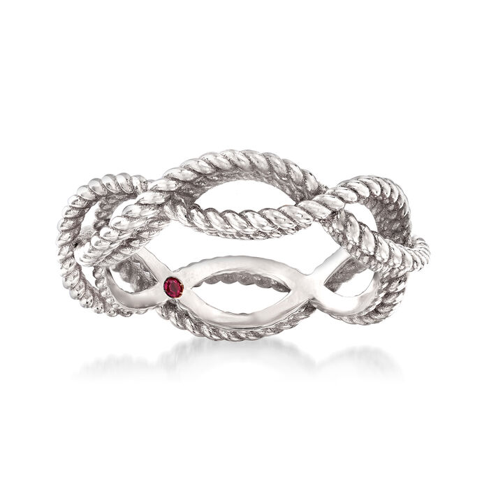"Roberto Coin ""Barocco"" Roped Ring in 18kt White Gold. Size 6.5, , default"