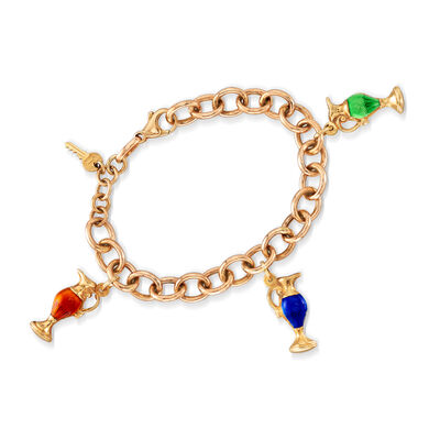 C. 1980 Vintage Multicolored Enamel Goblet and Key Charm Bracelet in 14kt Yellow Gold