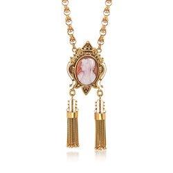 C. 1900 Vintage 23.7x17.5mm Agate Cameo and Cultured Seed Pearl Tassel Pin Pendant Necklace in 12kt Gold, , default