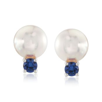 Mikimoto Everyday Essentials 7.5-8mm A+ Akoya Pearl and .26 Carat Total Weight Sapphire Drops in 18-Karat White Gold, , default