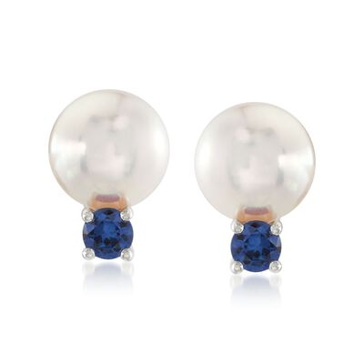 "Mikimoto ""Everyday Essentials"" 7.5-8mm A+ Akoya Pearl and .26 ct. t.w. Sapphire Earrings in 18kt White Gold, , default"