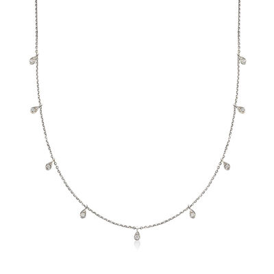 .28 ct. t.w. Diamond Station Necklace in 14kt White Gold , , default