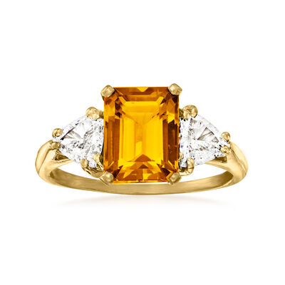 C. 1980 Vintage 2.10 Carat Citrine Ring with 1.00 ct. t.w. Diamonds in 14kt Yellow Gold