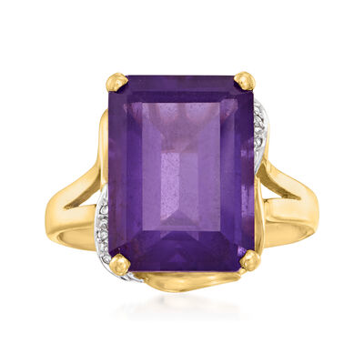 C. 1980 Vintage 13.00 Carat Amethyst Ring with Diamond Accents in 14kt Yellow Gold