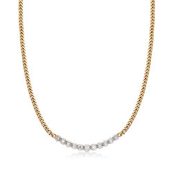 C. 1990 Vintage 1.25 ct. t.w. Diamond Bib Necklace in 14kt Yellow Gold  , , default