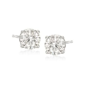 1.00 Carat Total Weight Diamond Studs in 14-Karat White Gold, , default