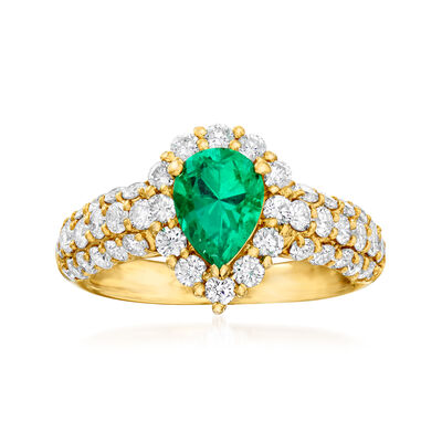 C. 1980 Vintage 1.18 ct. t.w. Diamond and .83 Carat Emerald Ring in 18kt Yellow Gold