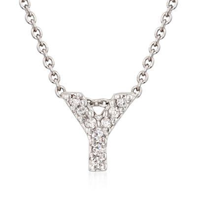 "Roberto Coin ""Tiny Treasures"" Diamond Accent Initial ""Y"" Necklace in 18kt White Gold, , default"