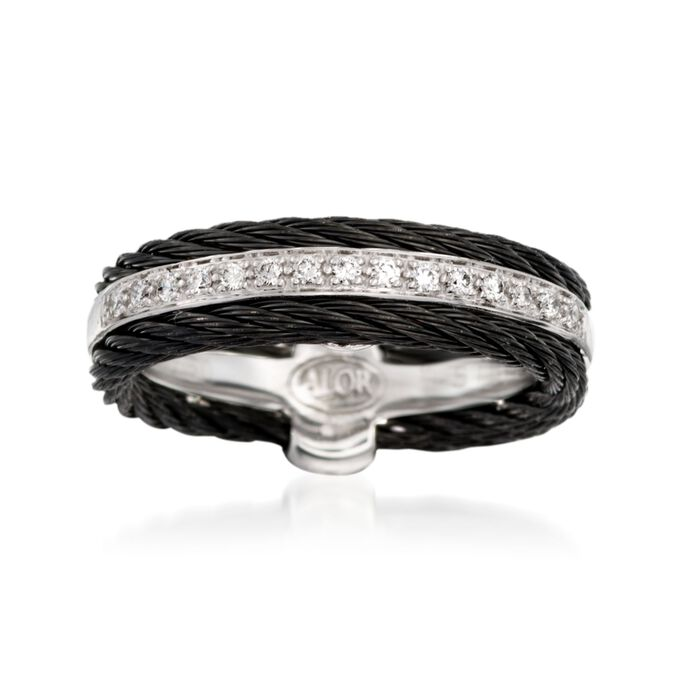 ALOR Noir .12 Carat Total Weight Diamond and Black Stainless Steel Cable Band with 18-Karat White Gold. Size 7