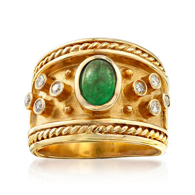 C. 1980 Vintage 1.00 Carat Emerald and .20 ct. t.w. Diamond Ring in 14kt Yellow Gold, , default