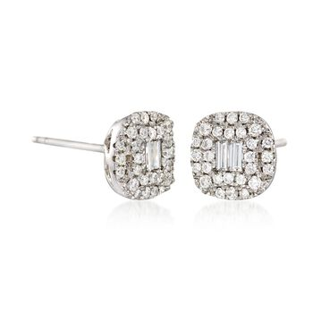 Gregg Ruth .58 Carat Total Weight Baguette and Round Diamond Studs in 18-Karat White Gold, , default