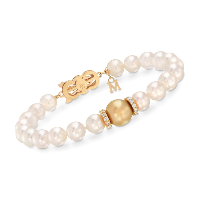 """Mikimoto """"Everyday"""" 7-10mm A+ Golden South Sea and White Akoya Pearl Bracelet with .40 ct. t.w. Diamonds in 18kt Yellow Gold. 7.5"""", , default"""