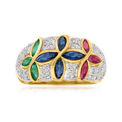 C. 1980 Vintage 1.25 ct. t.w. Multi-Gemstone and .20 ct. t.w. Diamond Ring in 18kt Yellow Gold